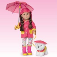18 Inch Doll Rain Pink Fashion Set With Umbrella Boots and Fluffy Puppy