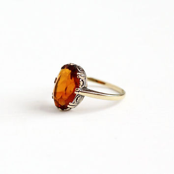Antique 9k Yellow Gold Citrine Ring - Size 5 Early 1900s Edwardian Orange November Gemstone 9CT Swirling Filigree Fine Jewelry