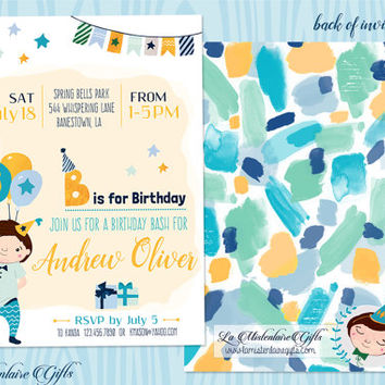 Balloons Boy Birthday Party Invitation - Printable Boys Party Invitation - Birthday Party Invitation - Blue Turquoise Orange Watercolor Mark