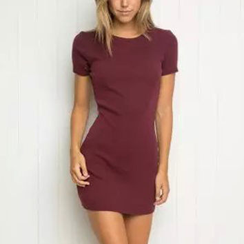 Sexy AA Brandy Style Thread High Elastic Slim Sheath Mini Knitting Dress Trendy Women Short Sleeve O-Neck Pullover femme 6 Color