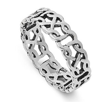 925 Sterling Silver Wicca Celtic Norse Fusion Eternity Ring