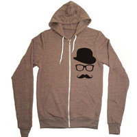 Mustache Hoodie Zipup Sweatshirt Jacket - American Apparel Sweater - XS S M L XL (7 Color Options)