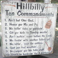 Hillbilly ten commandments sign, wood sign , ten commandments, primitive wood sign, hillbilly scripture plaque