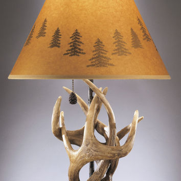 "0-000009>24""h Derek Set of 2 of Rustic Antlers and Pine Cone Table Lamps"