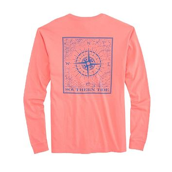 Southern Compass Long Sleeve T-Shirt in Shell Pink by Southern Tide