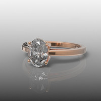 14K Rose Gold Engagement Ring, Wedding Band, Wedding Ring, Solitaire Ring, 8x6 mm White Topaz Ring, R-1008