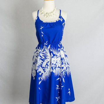 Vintage 80's Strappy Blue & White Hawaiian Sun Dress S Full Skirt