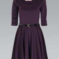 Purple Belted Skater Dress with 3/4 Length Sleeves