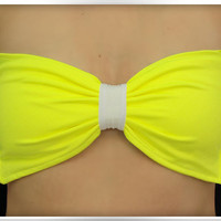 Bandeau Bow Neon Yellow Bikini Top Women Spandex Swimsuit Strappless B... by ColdReef