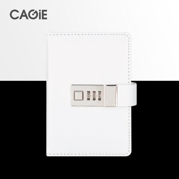 CAGIE Cute Black/White a7 Lock Notebook Mini Pocket Personal Diary With Lock Traveler Journals Leather Sketch Book Planners