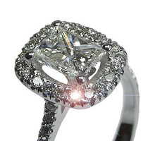 Ready to be Shipped within 3 days Engagement Ring, Diamond Ring, Radiant diamond Ring, White gold 14K golden ring