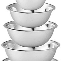 Stainless Steel Mixing Bowls by Finedine (Set of 6) Polished Mirror Finish Nesting Bowls ¾, 1.5,3,4,5 and 8 Quart - Cooking Supplies