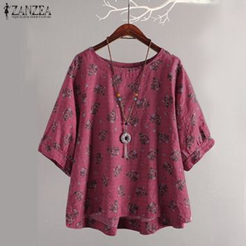 Plus Size Vintage Women Blouse 2019 ZANZEA Summer Tops Casual Floral Print Blusa Work  Blusas Kaftan Lantern Sleeve Tunic Top
