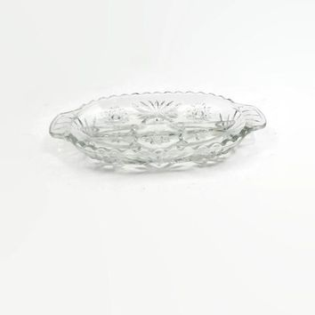 Anchor Hocking Prescut Clear Glass 2 Part Relish Dish