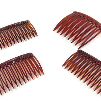 faux tortoise shell hair combs/ lot of hair combs/ tortoise shell hair clips/ vintage combs/ brown combs/ lucite hair clips/ small hair comb