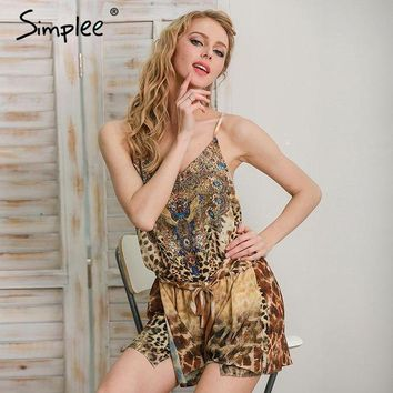 ESBONFI Simplee Leopard print brown jumpsuits romper women Summer beach sexy sleeveless overalls 2017 Backless strap chiffon playsuit