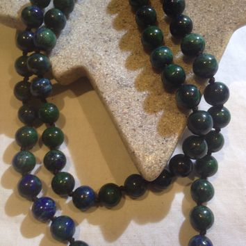 Nemesis hand knoted vintage malechite azurite beaded necklace