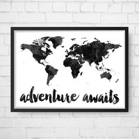 Adventure Awaits Map, Travel quote, World Map, Watercolor Map, Map Poster, Wanderlust, Map Art, Map Print, Wanderlust, Nursery Wall Art