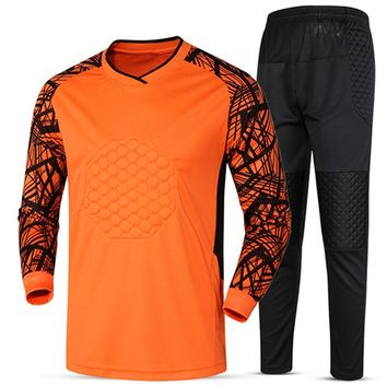 Soccer sets goalkeeper jerseys men football goal keeper uniforms sports tracksuit trainining pants shorts suit sponge protection