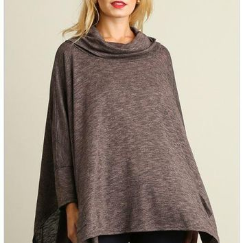 All Eyes On Me Ash Grey Cowl Neck Pullover Poncho Top