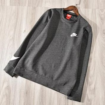 NIKE New fashion bust letter hook print and sleeve hook print men long sleeve top sweater