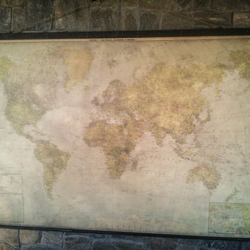 New Modern Giant World Map Antique Style Canvas Wooden Iron Pirate Frame Giant Wall Decor Urban Industrial Rustic Huge Large Wall Office
