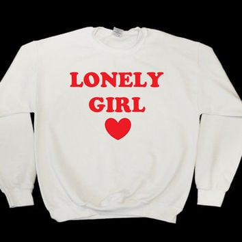 Lonely Girl Graphic Print Unisex White Sweatshirt