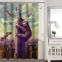 Slothzilla shower curtains adorabel bathroom heppy shower curtains.