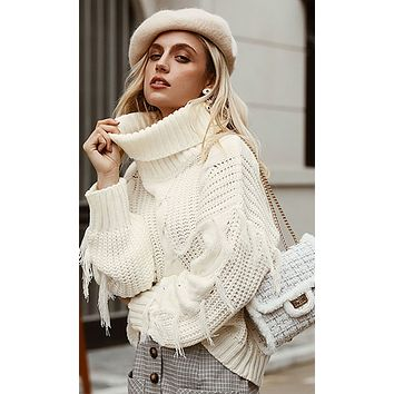 Warming My Heart Long Sleeve Cable Knit Fringe Tassel Turtleneck Pullover Sweater - 2 Colors Available