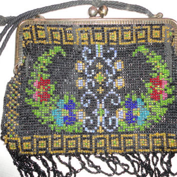 German Floral Glass Bead Metal Frame Looped Fringe Hand Bag Purse