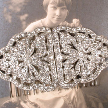 Antique Art Deco Hair Comb, 1920s Vintage Bridal Hairpiece Pave Rhinestone Fur Clips OOAK Accessory Great Gatsby Wedding Downton Abbey Bride
