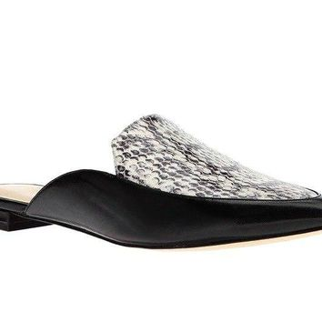 Faux Leather Mules - Faux Snake Skin