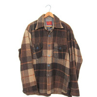 60s WOOL Plaid Flannel Shirt AUTUMNAL Mens Brown Oversized Heavy Wool Fall Shirt Jacket Flannel Plaid Workwear Rugged Mens Work Shirt Large