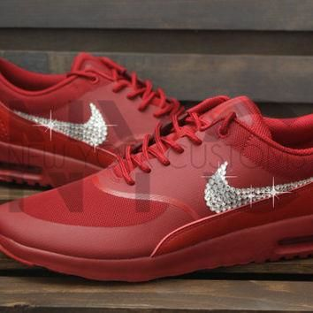 Blinged Womens Nike Air Max Thea Running Shoes Red Blinged Out With Swarovski Crystal
