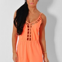 Belize Neon Orange Lattice Plunge Playsuit | Pink Boutique