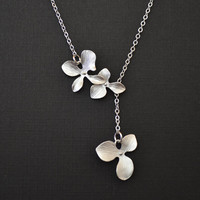 Orchid flower white gold plated lariat necklace.