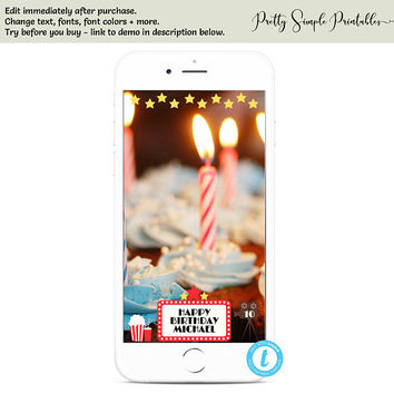Snapchat Filter Birthday, Movie Birthday, Boy, Girl, Snapchat Filter Templett, Template, Geofilter, Movie Party, Movie Night, Ticket, MOV1