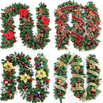 2016 New Green Christmas Garland Wreath Xmas Home Party Christmas Decoration Pine Tree Rattan Hanging Ornaments 270cm