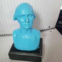 Washington in Blue - George Washington bust - presidential bust - upcycled art - classroom -teaching -classroom art - history classroom -art