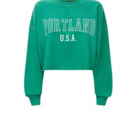 Green Portland Print Cropped Sweatshirt | New Look