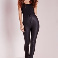 Missguided - Vice Super Stretch Wet Look High Waisted Coated Skinny Jeans Black