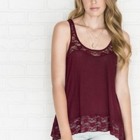 Relaxed burgundy tank with lace
