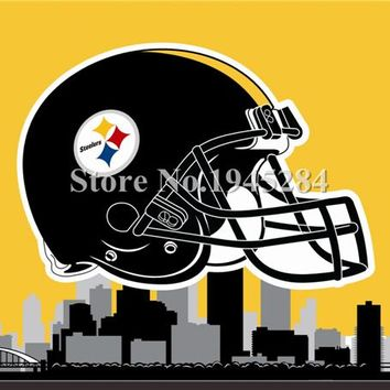 NFL Pittsburgh Steelers Helmet Pittsburgh City Skyline Flag Banner New 3x5ft  90x150cm Polyester Flag Banner, free shipping