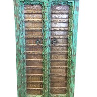 Mogul Interior Mogulinterior Rustic Furniture Antique Grounding Armoire Brass Patina Green Storage Cabinet Eclectic