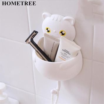 HOMETREE Toothbrush Holder With Wall Suction Buckle Hook Reusable Cat Shaped Sucker Brush Container