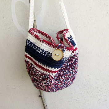 Boho Chic Organic Cotton Red-Blue-White Crochet Crossbody Bag - Summer - Hippy - Rustic - Trendy - Grunge -  Eco Friendly - Gift for Her