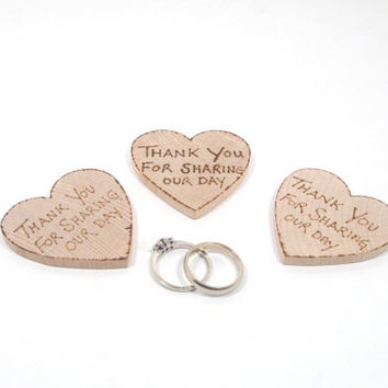 Rustic Wedding favors custom made.  25 wood burned heart thank you magnets. YOUR saying of choice.