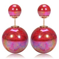Gum Tee Tribal Earrings - Glossy Stone Red