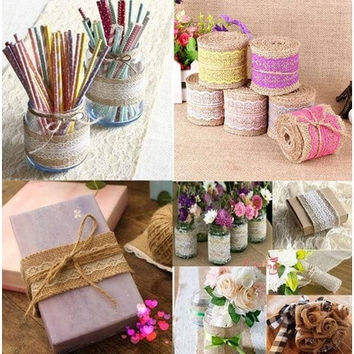 2016 New Arrival 2M Vintage Natural Jute Burlap Hessian Ribbon Lace Trim Table Wedding Decor [7983587783]