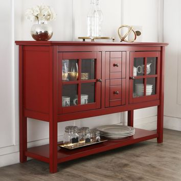 "52"" Wood TV Console Table or Sideboard - Antique Red"